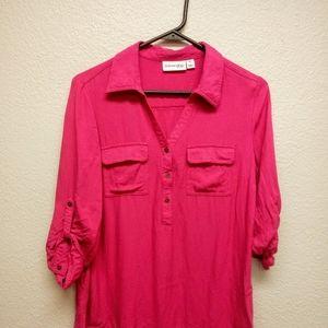 St. John's Bay Pink Rayon Blouse Sz M